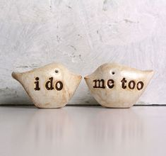 Cute little love birds: Wedding cake topper...Love birds... i do me too by SkyeArt on Etsy, $36.00
