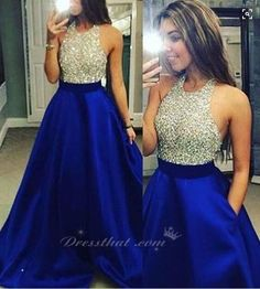 2016 Blue Satin Prom Dresses Halter neckline with luxurious Beaded and Crystal adorned bodice and Backless Prom Dresses
