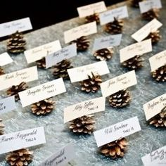 Pine cones make the perfect place card holders for your autumn themed nuptials