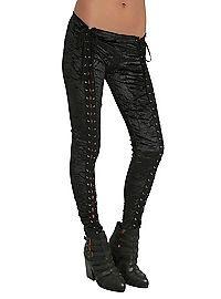 HOTTOPIC.COM - Black Velvet Front Lace-Up Leggings
