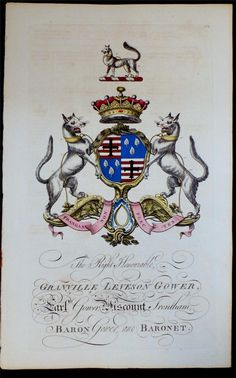 Coat of arms of Granville Leveson-Gower (1721–1803), 2nd Earl Gower (GB 1746), later 1st Marquess of Stafford (GB 1786), Joseph Edmondson's Baronagium Genealogium, London, 1764-1784.
