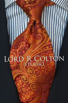 Lord R Colton Studio Tie - Rust & Copper Paisley Woven Necktie - $95 Retail New #LordRColton #NeckTie