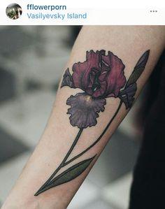Red purple iris tattoo idea forearm