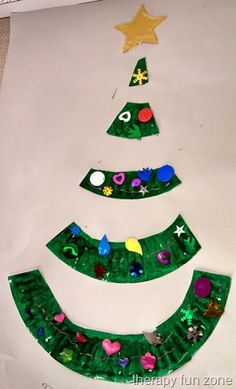paper plate christmas tree, could even cut out the shape from construction paper....