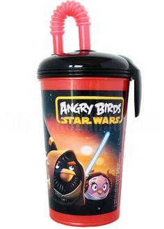 ANGRY BIRDS STAR WARS Trinkbecher mit Deckel und Strohhalm
