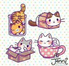 Kawaii Chibi illustration: Cute cats in small spaces 🐱💖 . Cute Kawaii Animals, Cute Animal Drawings Kawaii, Cute Cartoon Drawings, Draw Chibi, Chibi Cat, Kitten Drawing, Cute Cat Drawing, Kawaii Doodles, Cute Doodles