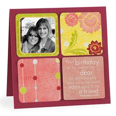 Trim decorative paper scraps into squares and round the corners. Place them in a grid. Include a photo and quote for a personal touch. Adhere to folded card stock.