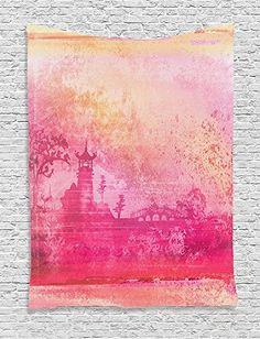 Asian Collection Nostalgic Buddhist Temple Illustration on Old Paper Retro Inspired Mystic Landscape Art Pink Orange Supersoft Throw Fleece Blanket 4921x7874 Inches >>> Find out more about the great product at the image link.