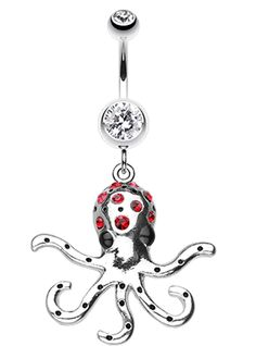 Octopus Sparkle Belly Button Ring - 14 GA (1.6mm) - Clear/Red - Sold Individually
