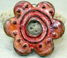 Polymer clay Handmade large faux ceramic flower by Cabinfeverclay