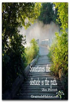 Once fear and resistance is gone, the path and solutions appear. www.GratitudeHabitat.com #path #zen #obstacles