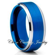 8mm Blue Brushed Tungsten Ring Beveled Edges Comfort Fit