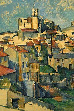 "Pintura ""Gardanne"" por Paul Cézanne - que filtra a natureza para formas geométricas (cubismo)"