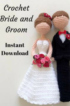 Loving Bride & Groom Amigurumi Crochet Doll Pattern - Wedding #Affiliate