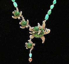 Whimsical Silver Turtles Necklace Are We by LinkWachlerDesigns, $950.00