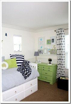White Captains Bed & bold dresser