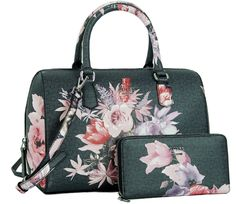 bf674ab0f950c GUESS Ashville Rose Floral Box Satchel Handbag Tote Bag Purse   Wallet Set  Bolsos De Moda