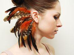 Feather Ear Cuff - Fire Tiger. $31,00, via Etsy.