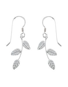 Sterling Silver Leaf Stem Short Drop Earrings
