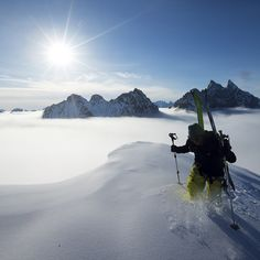Walking on clouds, skiing on dreams. Team athlete @lucasdebari explores the wonderland that is Greenland.