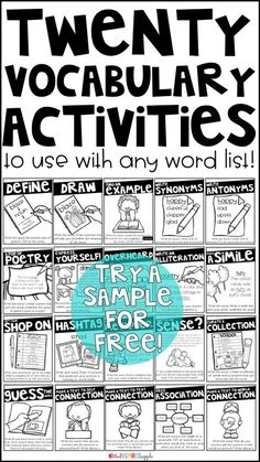 23 effective vocabulary activities vocabulary activities this is a set of twenty different activities that you can use with any vocabulary word with students in grades kindergarten first grade second grade fandeluxe Choice Image