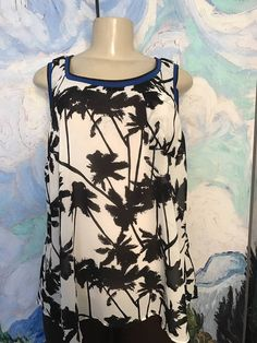 a42c5522826cc Torrid plus 1 black ivory sheer palm tree print round hem sleeveless tunic  top. Formal TopsCasual TopsTree DesignsSleeveless ...