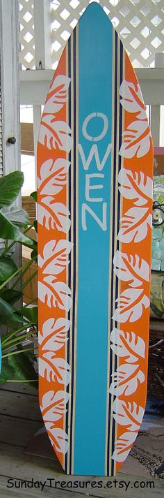 4FT SURFBOARD Orange Navy Turquoise Hawaiian Wall Art Beach Sign Hand Painted Headboard.  Kids Surf Room.150 Designs 3 Sizes.