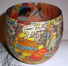 Barbie Marvel Comic Book Pop Art Decoupaged Candle Holder, Storage Container , Collectors Display or Home Decor Piece. $23.00, via Etsy.
