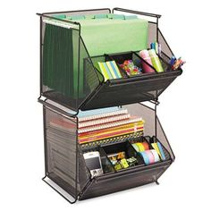 Sturdy black, mesh bin accommodates all your necessary storage needs from office supplies to letter-size hanging file folders and everything in between. Easily makes room for more organizational fun Office Supply Organization, Desktop Organization, Office Storage, Storage Bins, Storage Spaces, Organizing Office Supplies, Organization Ideas, Organization Station, Storage Systems