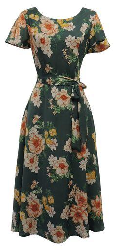 1940s Retro WW2 Wartime 40s Floral Tea Dress