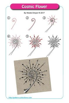 Flower Drawing Cosmic Flower by Nicole Dreyer - Visit the post for more. Doodle Drawing, Tangle Doodle, Tangle Art, Zentangle Drawings, Doodles Zentangles, Zentangle Patterns, Doodle Art, Zen Doodle Patterns, Doodle Borders
