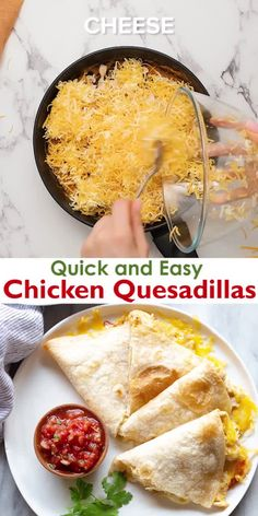 We love everything about these quick and easy Chicken Quesadillas that are baked in the oven and ready in minutes. This recipe makes the best quesadillas, hands down! Healthy Chicken Recipes, Mexican Food Recipes, Cooking Recipes, Healthy Chicken Quesadillas, Easy Chicken Quesadilla Recipe, Healthy Quesadilla, Oven Recipes, Dinner Recipes, Baked Quesadilla