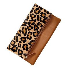 Gap Leopard Foldover Clutch - cognac ($50) ❤ liked on Polyvore featuring bags, handbags, clutches, purses, bolsas, women, beige clutches, man bag, fold-over clutches and leopard clutches