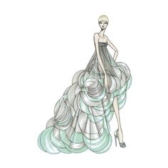 Atelier Versace Fall 2008, Coming Soon to a Red Carpet Near You ❤ liked on Polyvore featuring sketches, drawings, backgrounds, dresses and art