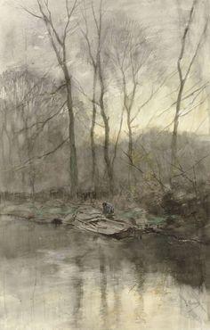Bosrand aan het water - Anton Mauve (1848 - 1888)