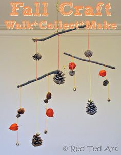Fall Craft: Make a mobile from things found on your walk. Well, on my road it would be a mobile of broken glass, beer cans, bottle caps, and plastic cups. Redneck vibe, I guess?