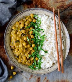 Vegan chickpea curry with eggplant. Delicious comfort food in less than 30 minutes. Recipe is vegan, gluten free, oil free, rich in protein and easy to make