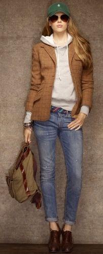 Love the sweatshirt under the blazer.