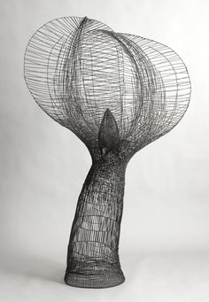black sculpture abstract art by Glenn Murray | ' Embrace' Reclaimed steel wire.
