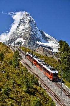 Train in Alps, Switzerland