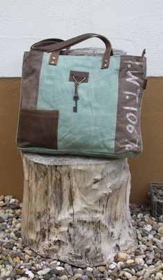 Sunsa Vintage Shopper Handtasche in blau.