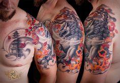 Jintattoo Tattoo, Foo Dog w/ flames