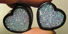 Alice In Iridescent Land Sparkle Heart plugs by GlitzGauge on Etsy, $15.00
