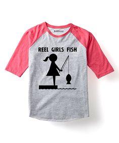 Look what I found on #zulily! Gray & Hot Pink 'Reel Girls Fish' Raglan Tee - Toddler & Girls by LC Trendz #zulilyfinds