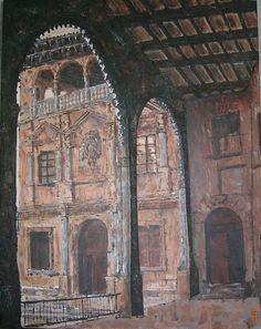Alcañiz_00  My first paint, detail of the Spain Square in Alcañíz (Teruel-Spain)