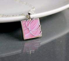 Pink Swirl - Stained Glass Jewelry Necklace - OOAK. Starting at $5 on Tophatter.com!