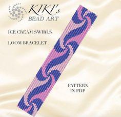 Bead loom pattern Ice cream swirls LOOM bracelet pattern in Loom Bracelet Patterns, Bead Loom Bracelets, Bead Loom Patterns, Beaded Jewelry Patterns, Beading Patterns, Loom Bands, Ice Cream Swirl, Seed Bead Flowers, Loom Craft