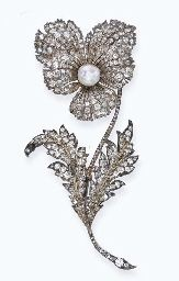 AN ANTIQUE DIAMOND AND PEARL 'PANSY FLOWER' BROOCH