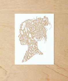 Hand-Cut Papercutting Artwork  Floral Woman by lightpaper on Etsy