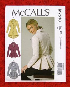 Free Printable Sewing Patterns McCall's jacket sewing pattern with pleated peplum. Misses' Notch-Collar, Peplum JacketsMcCall's jacket sewing pattern with pleated peplum. Misses' Notch-Collar, Peplum Jackets Coat Pattern Sewing, Blazer Pattern, Mccalls Sewing Patterns, Vogue Patterns, Coat Patterns, Jacket Pattern, Vintage Sewing Patterns, Clothing Patterns, Dress Patterns